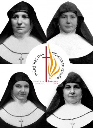 Otro cartel elaborado con motivo de la pronta beatificación, con fotografías de las mártires.