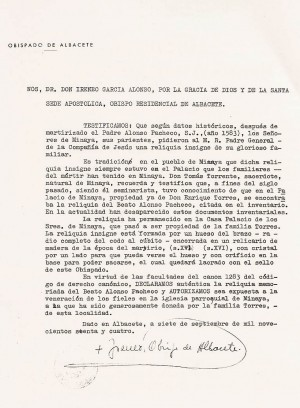 Carta del entonces Obispo de Albacete, Dº Irineo (documento de la autenticidad de la reliquia).