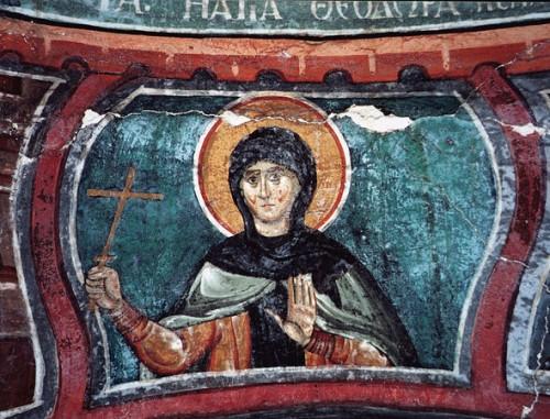 Fresco de la Santa en una iglesia ortodoxa griega.