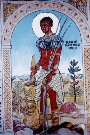 Mural de Manche Masemola en la Cyrene Mission de Bulawayo (Zimbawe).