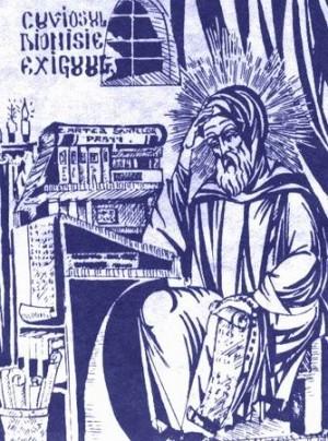 El Santo trabajando en su scriptorium. Ilustración rumana contemporánea.