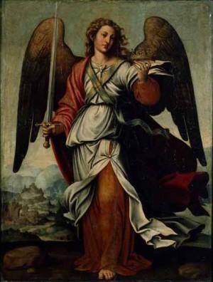 Santo Ángel Custodio de la ciudad de Valencia, lienzo de Juan de Juanes. Museo parroquial de la catedral de Valencia, España.