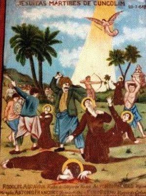 Antigua estampa de los mártires de Salsete. Al fondo se ve el martirio del Beato Alonso Pacheco.