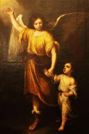 """""""Ángel de la Guarda"""", lienzo de Bartolomé Esteban Murillo (1665). Capilla homónima en la catedral de Sevilla, España."""
