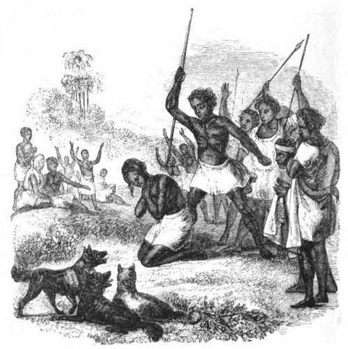 Grabado de la ejecución de Rasalama, los perros salvajes esperando para devorar su cuerpo.