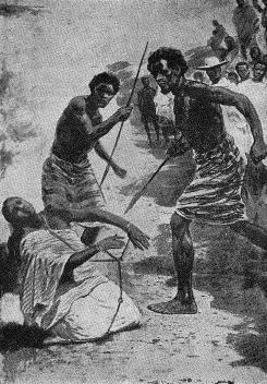 Grabado de la ejecución de Rasalama a las órdenes de la reina Ranavalona I.