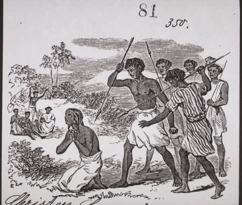 """""""La mártir Rasalama"""", grabado impreso en el Archivo Internacional de Misiones, 1883."""