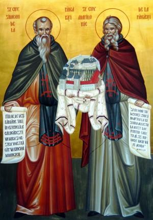 Icono ortodoxo rumano de los Santos Simeón y Anfiloquio de Pângăraţi.