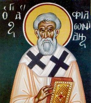 Detalle de un fresco ortodoxo griego de San Filónides de Kourion.