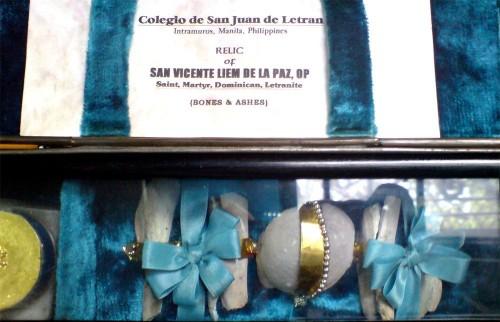 Reliquias de San Vicente Liem de la Paz.