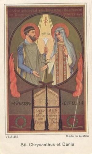 Crisanto y Daría, ejemplo de matrimonio cristiano. Estampa devocional alemana.