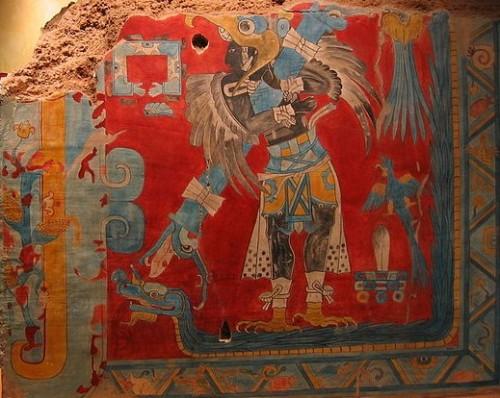 El dios alado del maíz adorado en el sitio arqueólogico de Cacaxtla en el municipio de Nativitas, Tlaxcala, cercano al Santuario de San Miguel.
