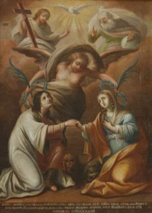 """""""Gloria de los Santos Crisanto y Daría"""", lienzo de S. Tatulli (1792)."""