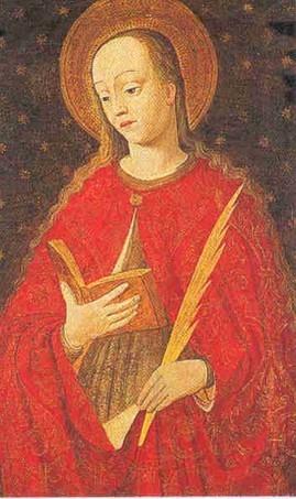 Detalle de la Santa en un retablo gótico de Ludovico Brea. Catedral de Montecarlo, Mónaco.