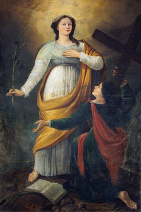 Santas Devota (de pie) y Julia (de rodillas, sosteniendo la cruz de su martirio), patronas de Córcega y que, según los hagiógrafos, sería una única Santa. Lienzo de la abadía de Flavigny, Francia.
