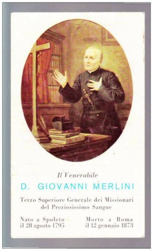 Estampa devocional italiana del Venerable.