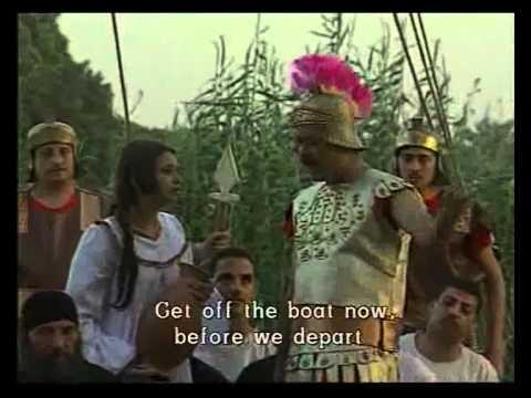 Escena de la película copta dedicada a la Santa, en el que la mártir, portando el jarro, se une voluntariamente al barco de cristianos capturados.