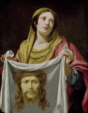 """""""Santa Verónica sosteniendo el Santo Sudario"""", lienzo de Simon Vouet (s.XVII). Museo de Tesse, Le Mans (Francia)."""