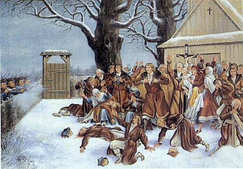 Ilustración contemporánea del martirio de los Beatos frente a la iglesia.