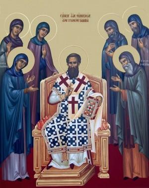 Icono ortodoxo griego del Santo rodeado de santos monjes y monjas.