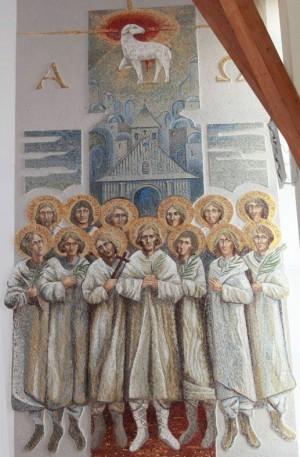 Mural contemporáneo de los mártires de Pratulin.