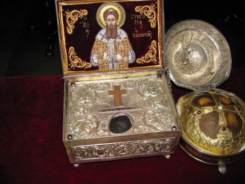 Relicario del Santo conservado en el monasterio Gregorios del Monte Athos, Grecia.