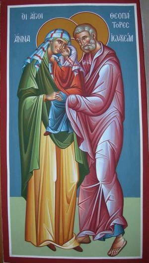 Fresco ortodoxo griego en el que se representa a María en brazos de sus padres.