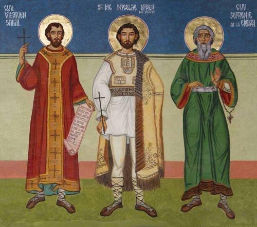 Fresco ortodoxo rumano de los Santos Besarión Sarai, Nicolás Oprea y Sofronio de Cioara (izqda. a dcha.)