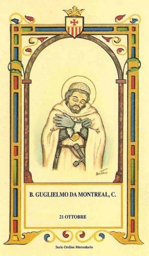 """Beato Guillermo de Montreal, mercedario. Estampa perteneciente a la serie del ilustrador Alberto Boccali """"Bertino""""."""