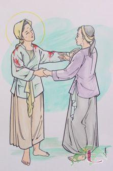 La Santa, con las ropas ensangrentadas, consuela a su hija Lucía en prisión. Ilustración contemporánea.