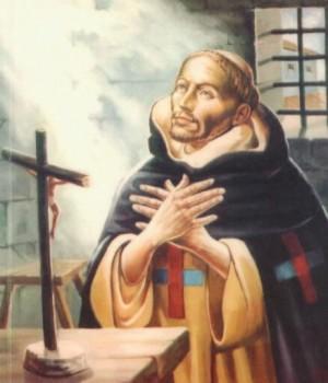 Lienzo contemporáneo del Venerable Tomás de la Virgen, trinitario.