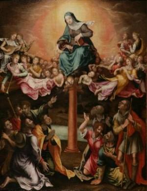 Aparición de la Virgen del Pilar a Santiago el Mayor, Pedro de Raxis, 1579. Museo de la Fundación Lázaro Galdiano, Madrid (España).