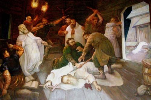 Martirio de los Santos. Pintura contemporánea en la abadía de Bieniszew (Polonia).