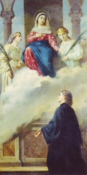Lienzo del Siervo de Dios junto a la Virgen y dos Santas mártires.