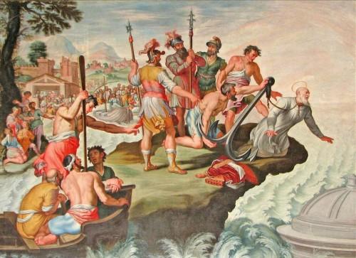 Martirio del Santo papa, arrojado al mar con un ancla al cuello.
