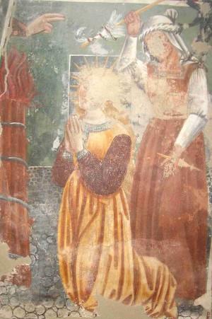 Martirio de la Beata. Fresco de Francesco Cagnola, ca. 1490-1510. Iglesia de San Martín de Engrevo, Bolzano (Italia).