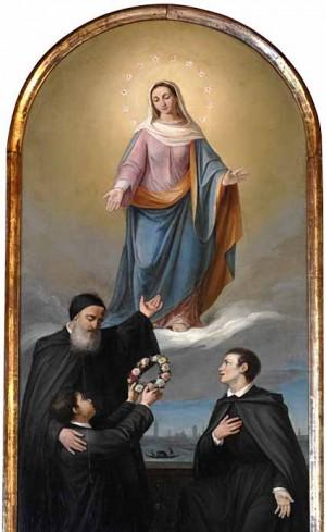 El Siervo de Dios presenta a sus discípulos a la Virgen, patrona de la Orden Mekhitarista.