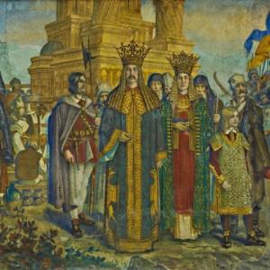 Detalle del Santo y de su esposa, Elena Despina, en el Ateneo Rumano.