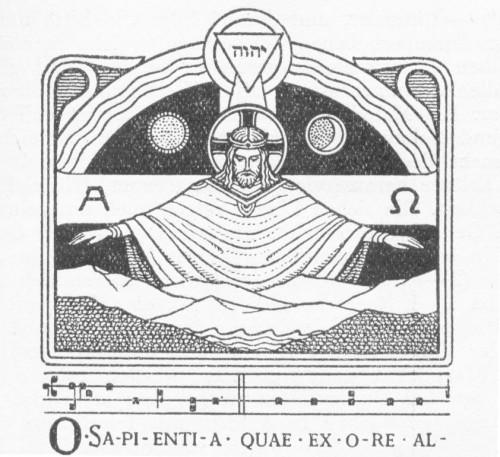 """Grabado al inicio de la Antífona """"O Sapientia""""."""