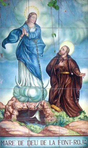 Cerámica devocional de la Virgen de los Lirios, patrona de Alcoi, Alicante (España).