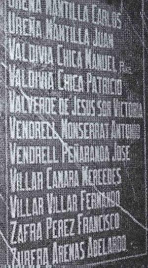 Lápida de los mártires de Martos. Destaca el nombre de la Beata. Iglesia de Nuestra Señora de la Villa, Martos (Jaén).