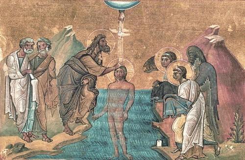 Bautismo de Cristo. Iluminación de Menologio de Basilio II (s. X). Biblioteca Apostolica Vaticana, Roma (Italia).