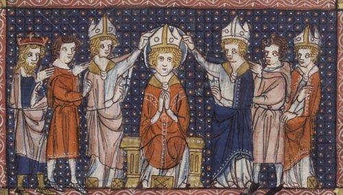 Consagración de San Hilario. Manuscrito de la Leyenda Áurea, siglo XIV. Henry E. Huntington Library and Art Gallery, San Marino, CA, USA).
