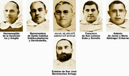 Fotos de los seis beatos mártires trinitarios.