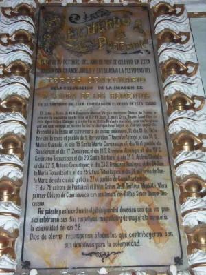 Placa del Tercen Centenario de la Dedicación del Santuario, Sotocoro del Convento Franciscano de San Gabriel, San Pedro Cholula (México).