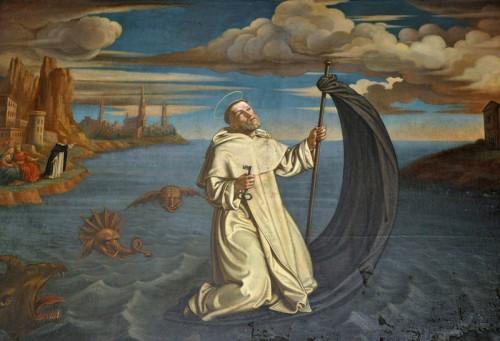 San Ramón atravesando el Mediterráneo desde Baleares a Barcelona – obra de Tomás Dolabella, conservada en el convento dominico de Cracovia (Polonia).