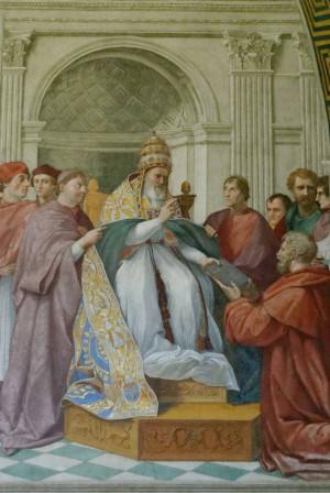 """El Papa Gregorio IX promulgando """"Los Decretales"""" . Fresco de Rafael en el Vaticano."""