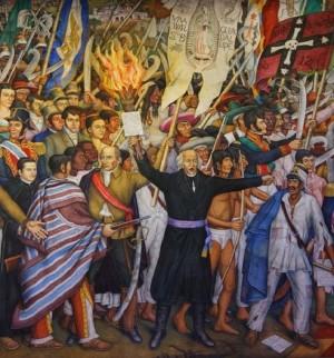 Miguel Hidalgo y las huestes insurgente con el estandarte de la Virgen de Guadalupe al inicio de la guerra de independencia, mural de Juan O'Gorman.