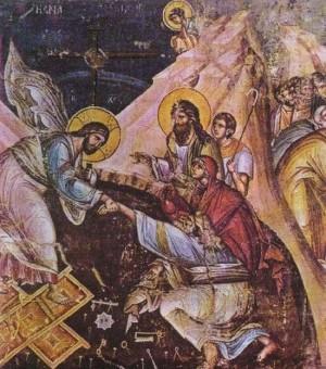 Cristo saca a Adán y a Evan de los infiernos. Fresco ortodoxo griego.