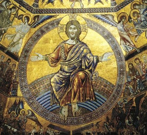 Detalle del Pantócrator en un mosaico bizantino. Baptisterio de Florencia, Italia.